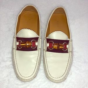 Gucci White Driving Loafers